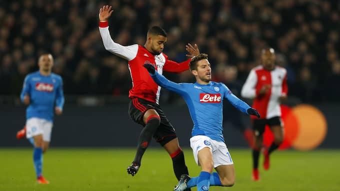 Napoli är utslaget – nu väntar spel i Europa League. Foto: PETER DEJONG / AP TT NYHETSBYRÅN