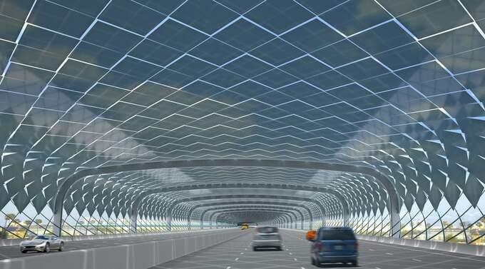 I projektet Solar serpents in paradise ringlar sig motorvägarna fram i tunnlar täckta av fjäll av solceller. Foto: MÅNS THAM