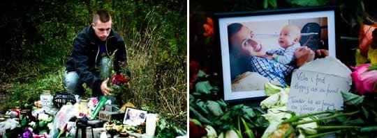 Till minne. Blommor, ljus, nallebjörnar och porträtt lades till minne av den döde Gabriel Holmdahl. Foto: Robin Aron